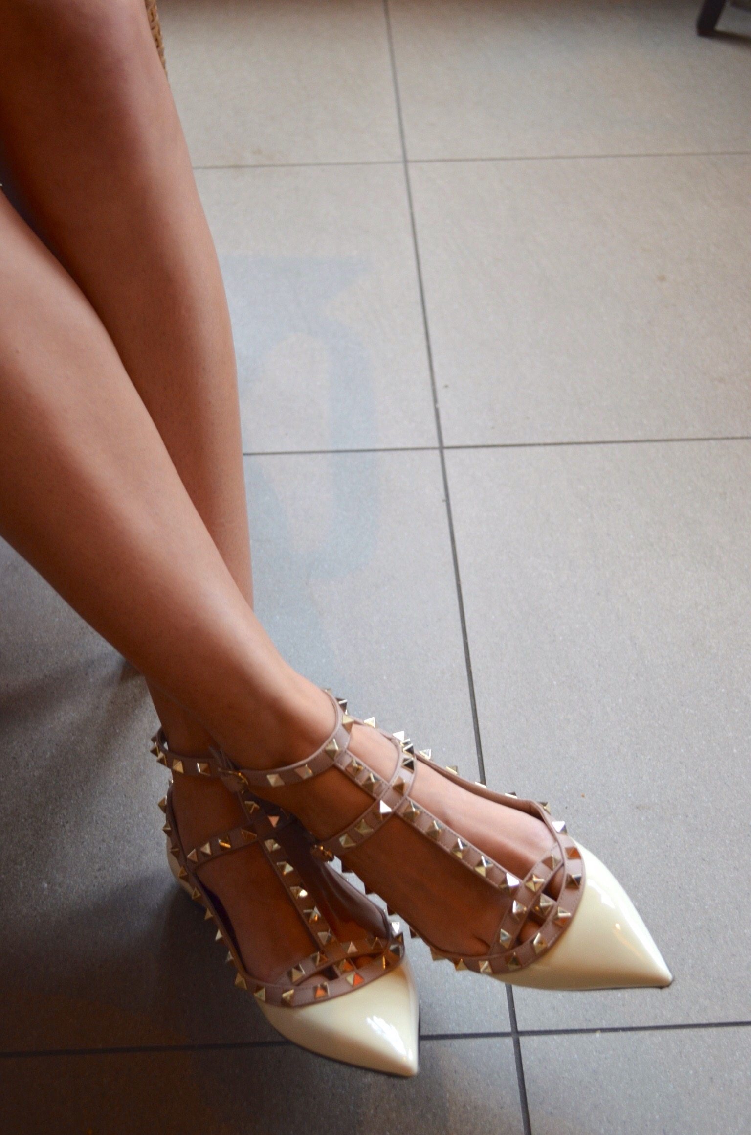 Nude Studded Valentino Flats