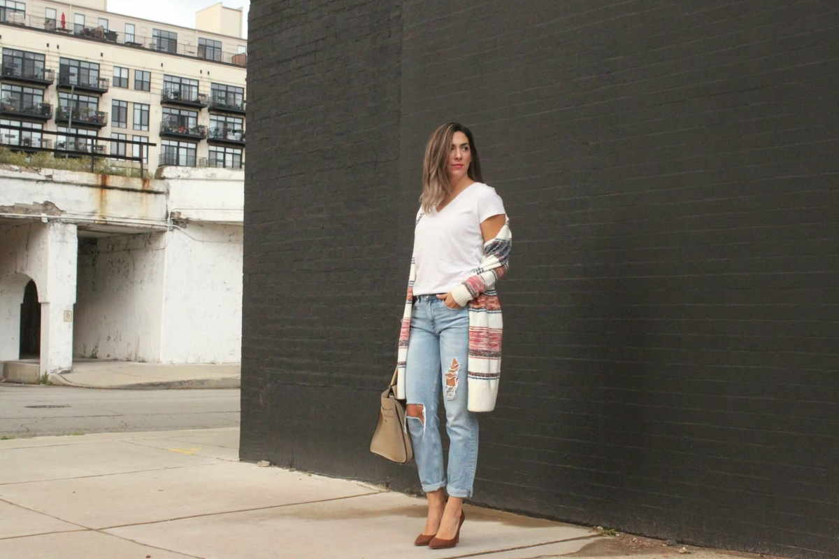 Oops I Wore It Again- Long Cardigan & Distressed Denim
