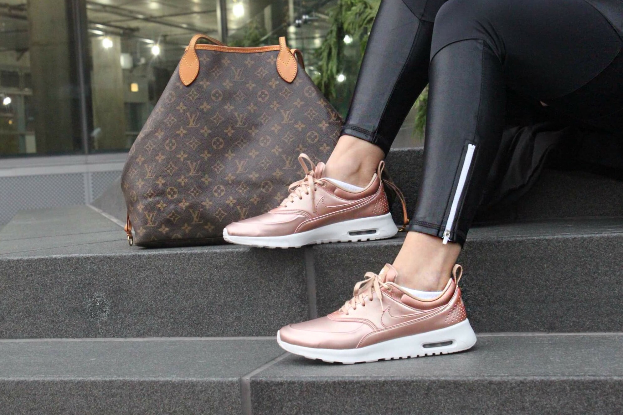 Comfort was key when preparing for Black Friday shopping and wearing the  comfy-cute Metallic Rose Gold Air Max Thea sneakers was a no-brainer.